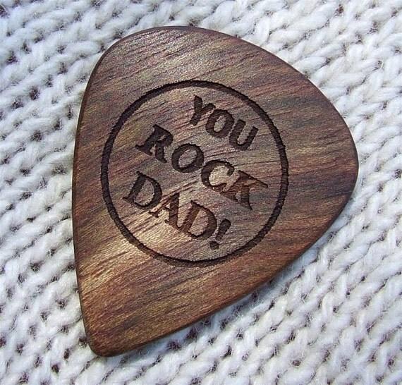 Wood Guitar Pick - You Rock Dad - Handmade Custom Engraved Exotic Wood Guitar Pick - Caribbean Rosewood