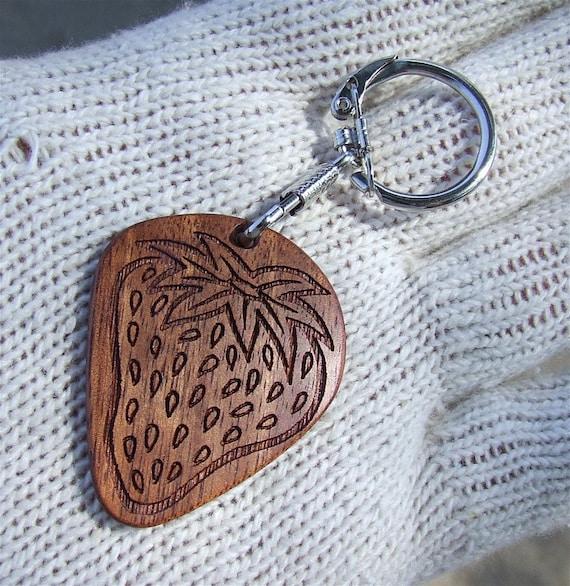 Amazon Rosewood Strawberry Key Ring - Key Chain Handmade Solid Wood Strawberry