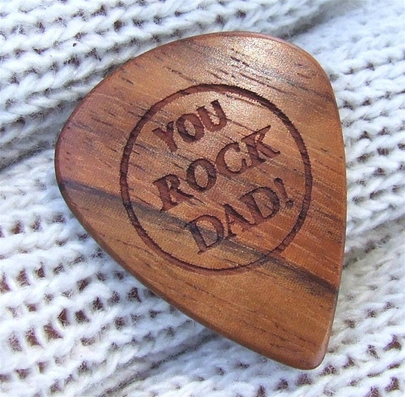 You Rock Dad - Handmade Laser Engraved Exotic Wood Guitar Pick - Amazon Rosewood
