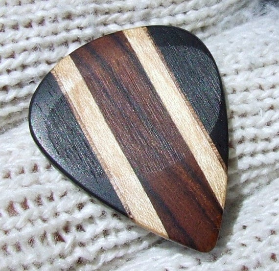 Custom Wood Guitar Pick - Handmade Exotic Arizona Ironwood - Hard Maple - Black Walnut and Gabon Ebony Premium Guitar Pick