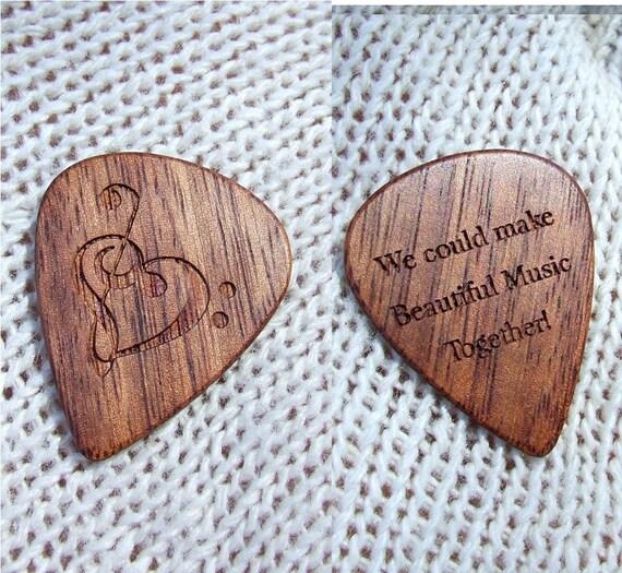 Dual Design Laser Engraved Exotic Wood Guitar Pick - Mexican Granadillo Wood