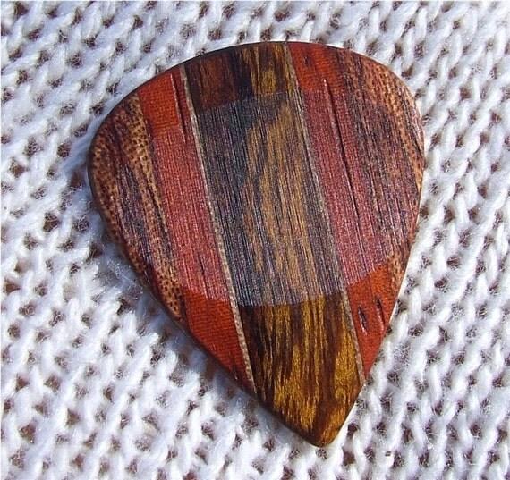 Custom Wood Guitar Pick - Handmade - Exotic Arizona Ironwood - Black Walnut  - Padauk - and Bubinga Premium Guitar Pick