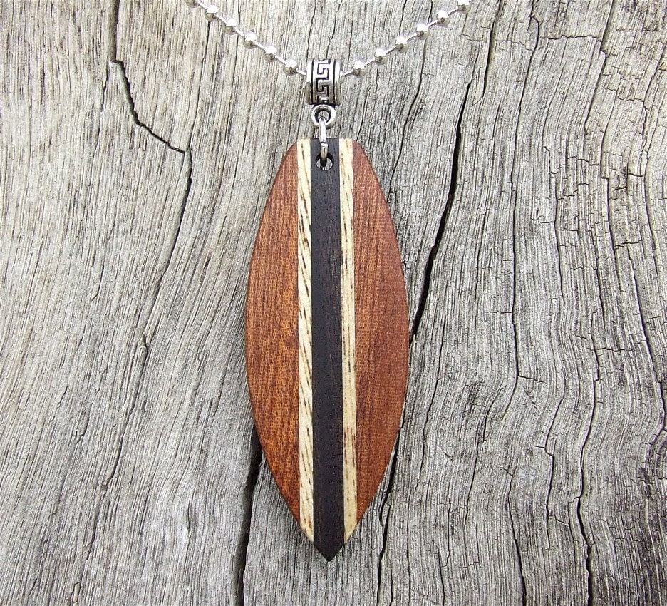 Exotic Wood Surfboard Shaped Pendant On Silver Plated Ball