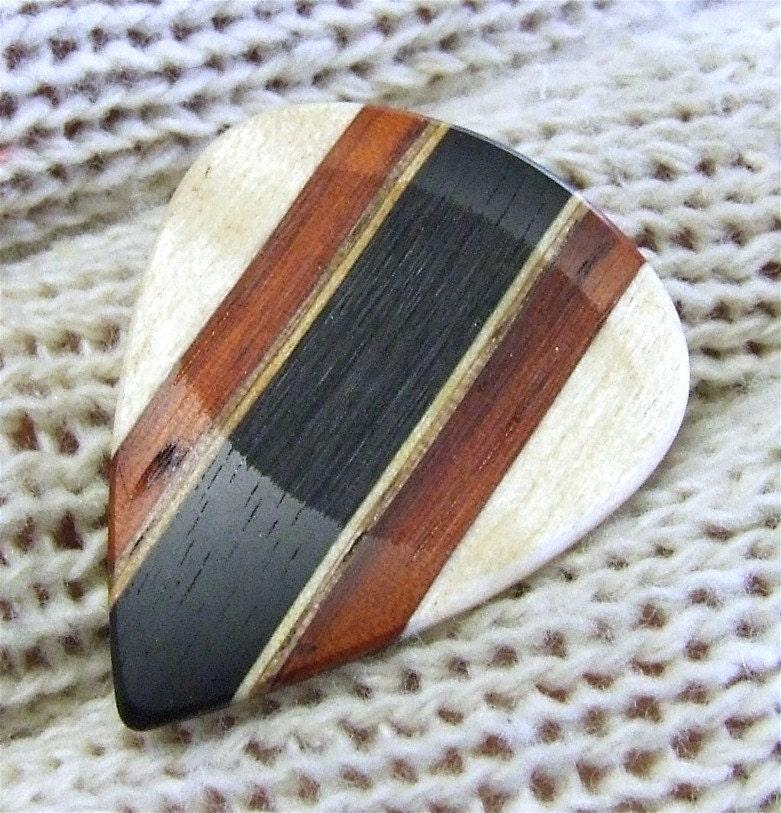 Custom Wood Guitar Pick Handmade Exotic and Domestic Woods