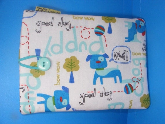 Ereader Kindle, Kindle Fire, Galaxy Tab, Kobo, Nook, Sony sleeve fun blue dogs bow wow well padded and ready to ship