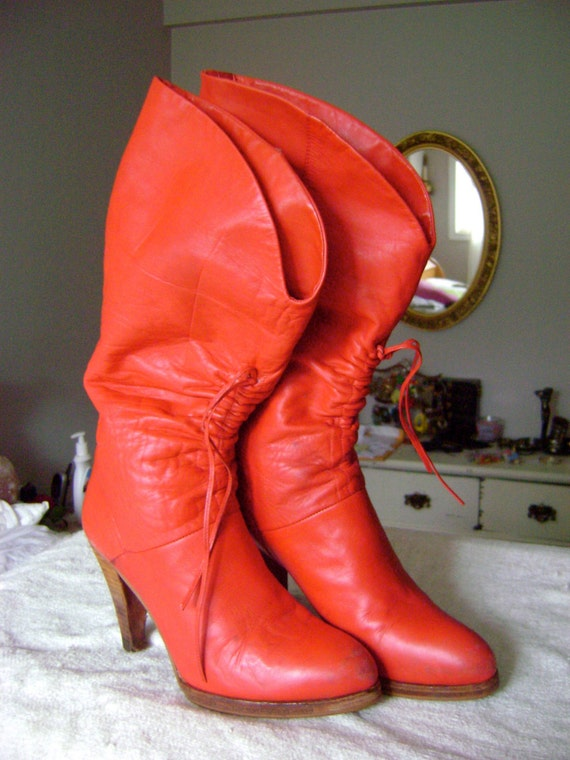 Reserved for elizimisunderatood. Vintage Valentines Day 70s 80s Red Hot Buttery Leather Platform High Heel Boots 8.5 9