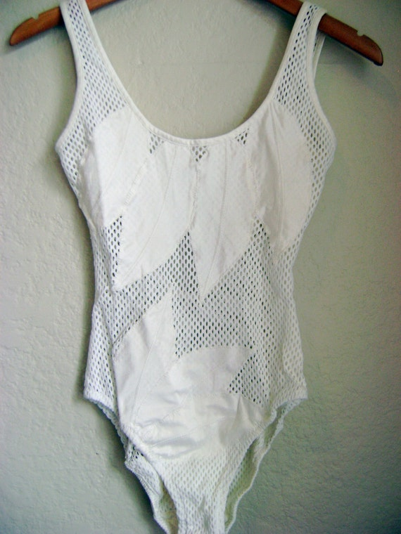 Vintage White Mesh One Piece Swimsuit