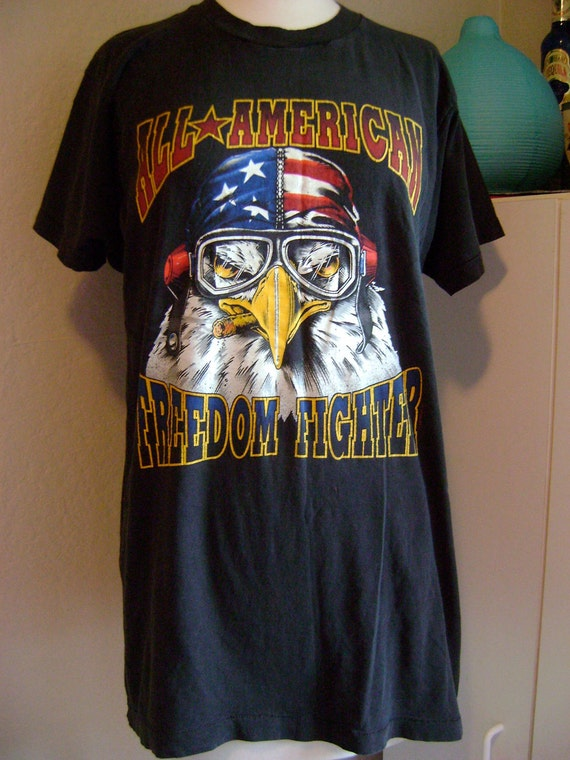 Vintage T-Shirt Thin Long Fitted All American Freedom Fighter Eagle XL