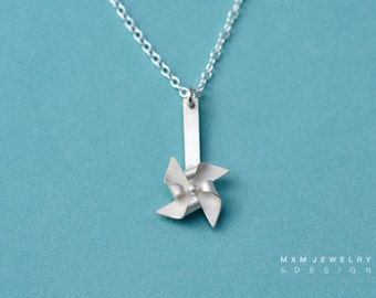 Handfolded Spinnable Sterling Silver Pinwheel Necklace (post up)
