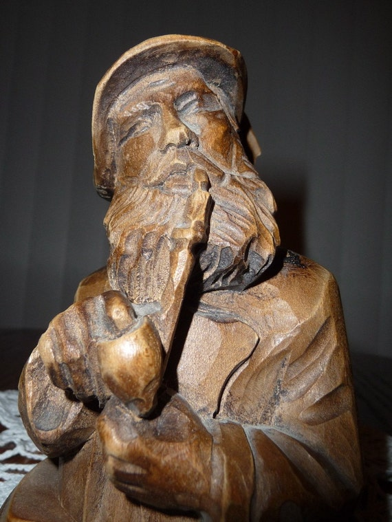 Small Carved Wood Statue Thinking Man W Pipe