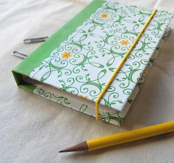 Mini Portfolio Organizer Accordion File and Pad - Sunny French Garden Green Yellow