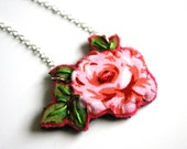 Necklace with a hand sewn rose