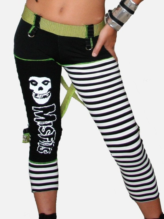 SALE SHITSVILLE CLOTHING DIY Misfits Pants Leggings Stripes Punk Rock size S OOAK