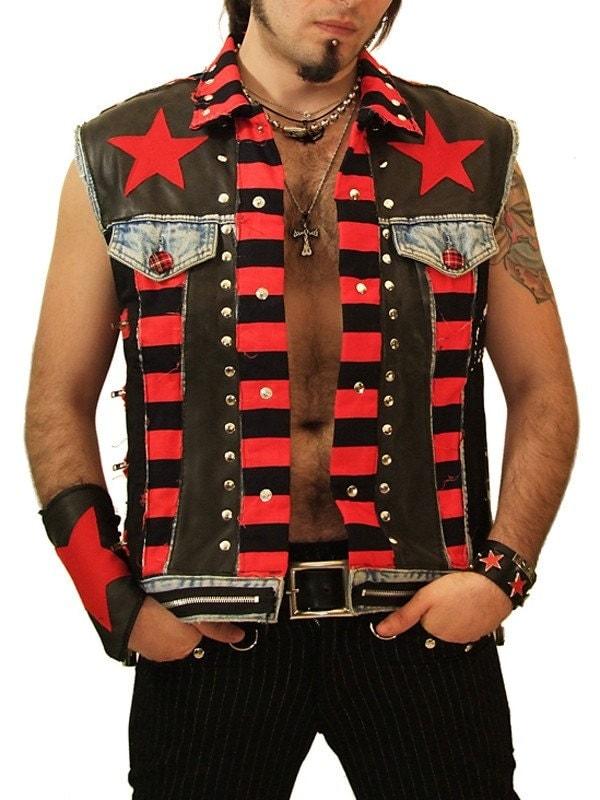 Shitsville Clothing DIY Male Vest Punk Rock Jacket Denim Sex