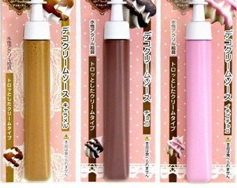 One 10cc tube of Padico deco cream sauce. Either strawberry cream, caramel cream or chocolate cream sauce. For miniature food and charms.