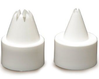 A set of 2 icing tips for Tamiya Topping Master Fake whipped cream. Plastic screw-on icing tips for fake whipped cream
