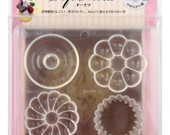 Padico Soft Mould / Mold. Large Doughnut and Cupcake mold. Four shapes in one mould.