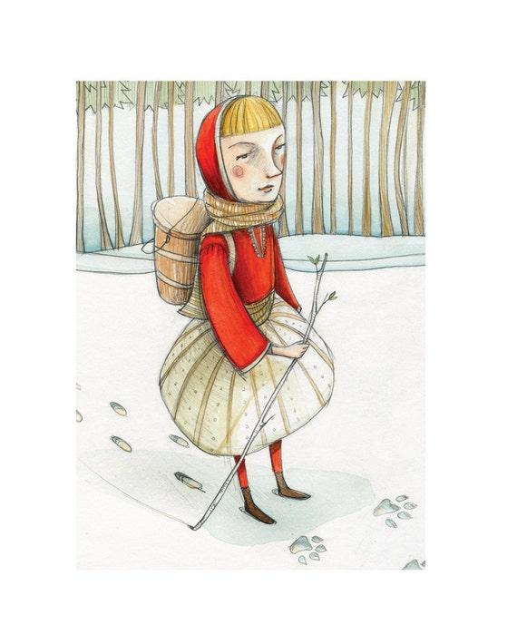 Illustration Print  'Little Red' 5x7