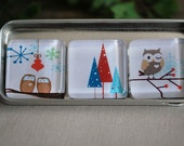 Glass Magnet Trio - Owls and Trees - LivyLouDesigns