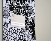 """Fabric Covered Magnet Board (8"""" x 24"""") - Black and White Floral"""