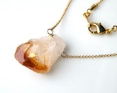 Raw Yellow Citrine and Clear Quartz Point Pendant- Necklace