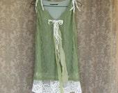 Funky Eco Sage Green Mini Dress / Tunic