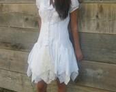 romantic Funky White Eco Tattered Mini Dress