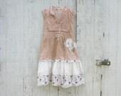 RESERVED for Deb - romantic Funky Light Cream Eco Tattered Dress