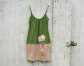 Funky Tattered  Eco Earthy Green Tank Dress / Tunic