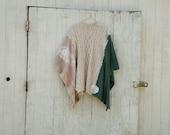 """made to order - romantic upcycled """"Bayou Boho"""" Funky Eco Beige and Navy Shrug / Wrap / Jacket / Poncho / Shirt"""
