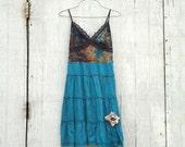 Funky Babydoll Tank Dress / Eco Dress / Tattered Artsy Dress / Upcycled Clothing