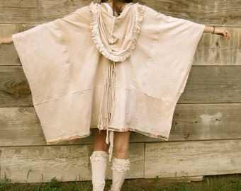 Bohemian Clothing, Shabby Chic Dress, Poncho, Romantic, Wrap, Made To Order, Boho, Creme Brulee, Hoodie, Jacket, Custom Order