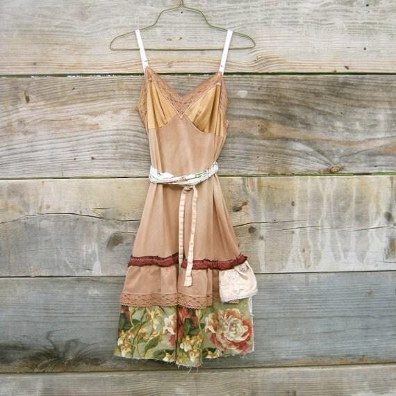 Burgundy WIne and Creme Brulee Vintage Ruffled Slip Dress