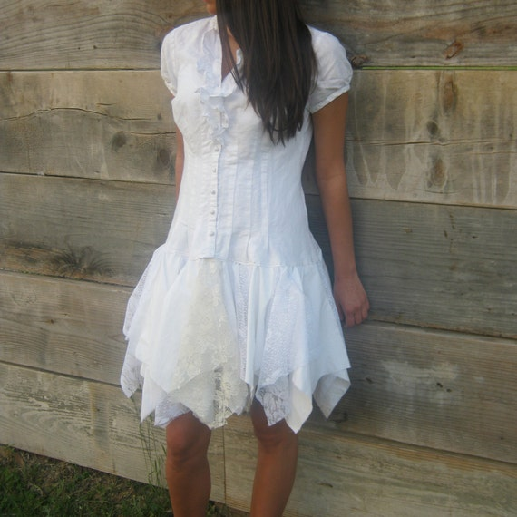 romantic Funky White Eco Tattered Mini Dress