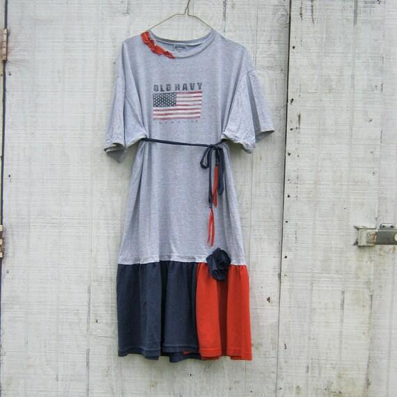 oversized Funky Tattered T-Shirt Dress - American Flag