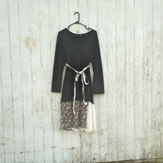 Funky Eco Dress / Upcycled Dress / Tattered Dress / T-Shirtl Dress / Romantic Dress by CreoleSha