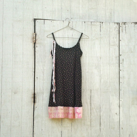 Funky BlackTank Dress / Eco Dress / Tattered Artsy Dress / Upcycled Clothing / Romantic