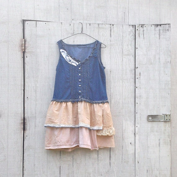 Upcycled Clothing / Tattered Dress / Funky Vintage By