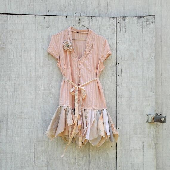 romantic Funky Peach Eco Tattered Fairy Woodland Pixie Mini Dress