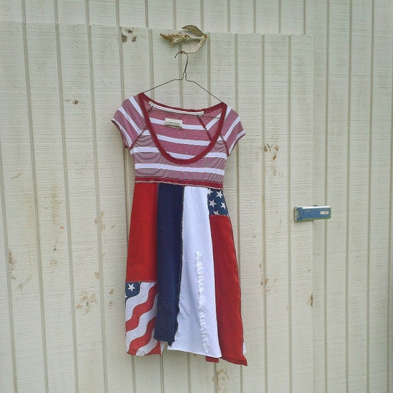 Patriotic / 4th of July / Funky Babydoll Dress / Eco T-Shirt Dress / Tattered Artsy Dress / Upcycled Clothing