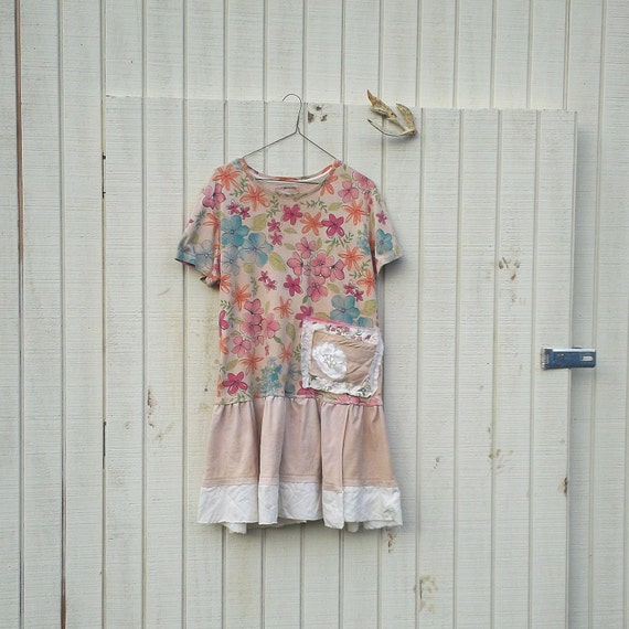large / plus - oversized Funky Eco Dress / Upcycled Striped Dress / Tattered Dress  / eco T-Shirt Dress / Romantic Dress by CreoleSha