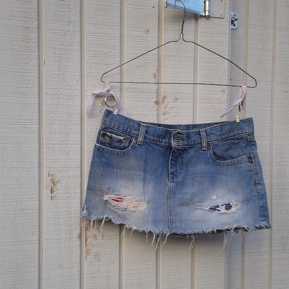 Americana Collection / Patriotic / 4th of July / Baseball / romantic Funky and Flirty Eco Denim Mini Skirt