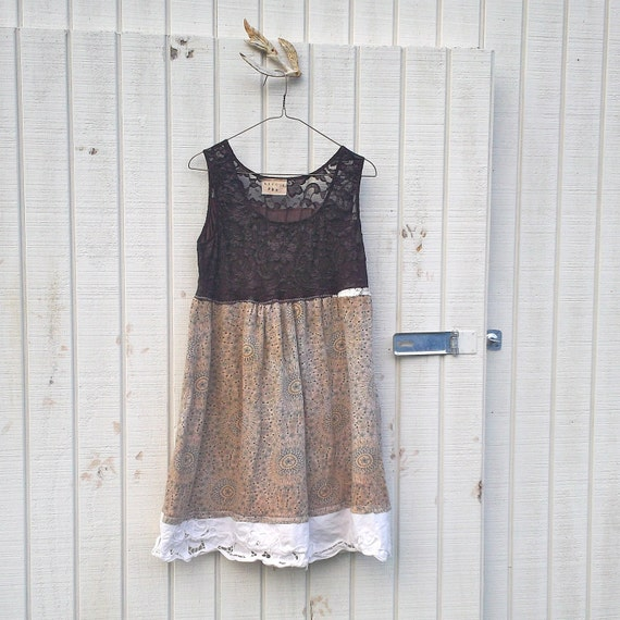 med / lrg - Funky Eco Romantic Baby Doll Jersey Knit Dress / Frock / Shirt by CreoleSha