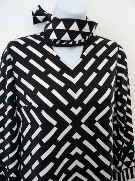 RESERVED Alina Vintage Lanvin geometric design jersey dress with neck tie