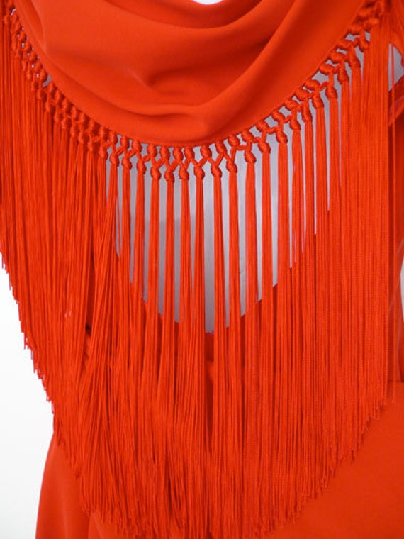 Vintage Thierry MUGLER red fringed slimline low backed dress S/XS