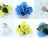 Miniature Flowers Mixed of Blue, Yellow and White Polymer Clay Arts, set of 12 pieces