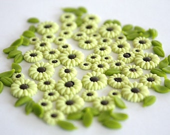 Miniature Polymer Clay Flowers for Scrapbooking & Nails Art 50 pcs
