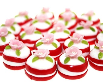 Miniature Polymer Clay Beads Supplies for Foods Jewelry 8 pcs