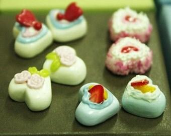 Miniature Foods Polymer Clay Beads Jeweley 8 pcs