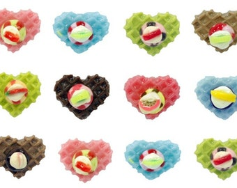 Miniature Foods Polymer Clay Beads Jewelry Waffel and Ice Cream 12 pieces